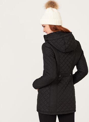 Weatherproof - Hooded Diamond Quilted Coat, Black, hi-res