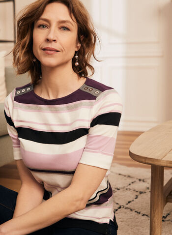 Stripe Print Elbow Sleeve Tee, Purple,  t-shirt, boat neck, striped, elbow sleeves, cotton, spring summer 2020