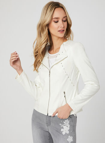 Studded Faux Leather Jacket, Off White, hi-res,