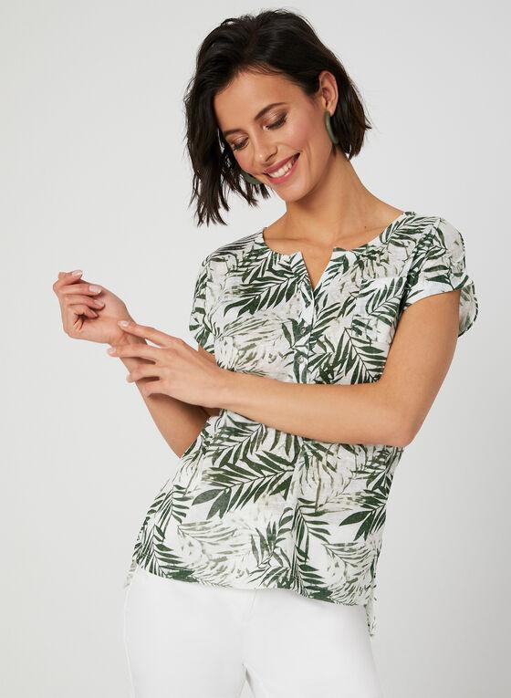 T-shirt motif feuilles de palmier, Vert