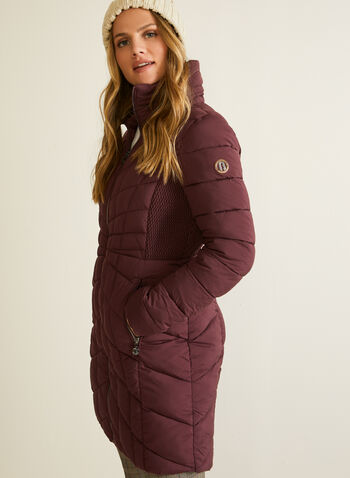 Bernardo - EcoPlume™ Quilted Coat, Red,  coat, quilted, vegan down, hood, zipper, fall winter 2020