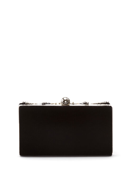 Crystal Embellished Velvet Clutch, Black, hi-res