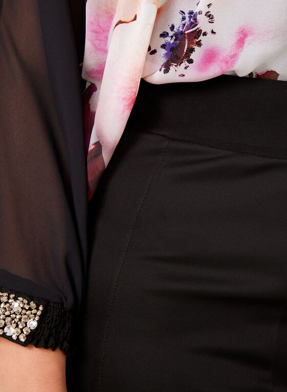 Jupe longue fluide en jersey et maille filet, Noir, hi-res