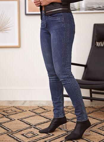Denim ajusté à imprimé animal, Bleu,  automne hiver 2021, pantalon, denim, jean, extensible, jambe étroite, ajusté, motif, imprimé, animal, léopard, poches