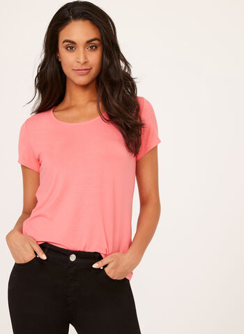 Short Sleeve Scoop Neck T-Shirt, Orange, hi-res