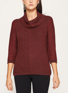 3/4 Sleeve Cowl Neck Knit Sweater , Brown, hi-res