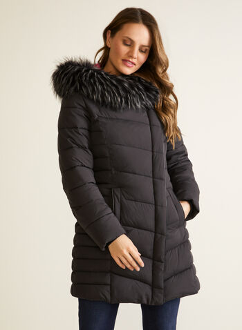 Vegan Down Asymmetrical Coat, Black,  fall winter 2020, coat, winter, jacket, oversized hood, large hood, faux fur trim, removable hood, water repellent, vegan leather, faux leather, ribbed, assymetric, assymetrical, warm, zipper, zip, pocket, chevron quilting, drawstrings