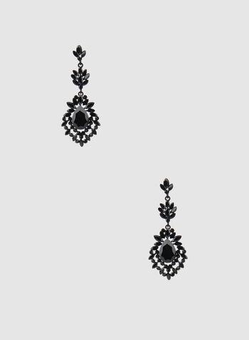 Boucles d'oreilles style baroque à cristaux, Noir, hi-res,  cristaux, plusieurs niveaux, pendants, automne hiver 2019