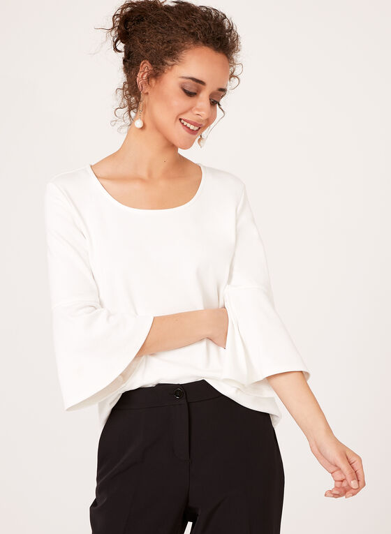 Linea Domani - ¾ Bell Sleeve Top, Off White, hi-res