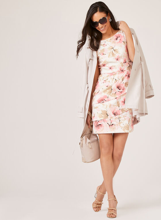 Sleeveless Floral Print Tiered Dress, Pink, hi-res