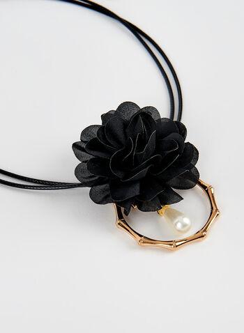 Collier à cordon avec pendant fleur, Noir, hi-res