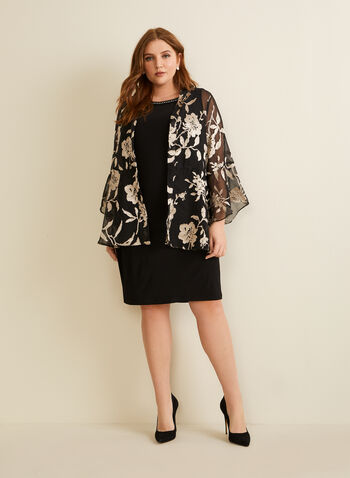 Dress & Floral Cardigan Set, Black,  dress, cocktail, sleeveless, rhinestones, beads, jersey, cardigan, chiffon, floral, leaves, metallic, embroidered, open front, spring summer 2020