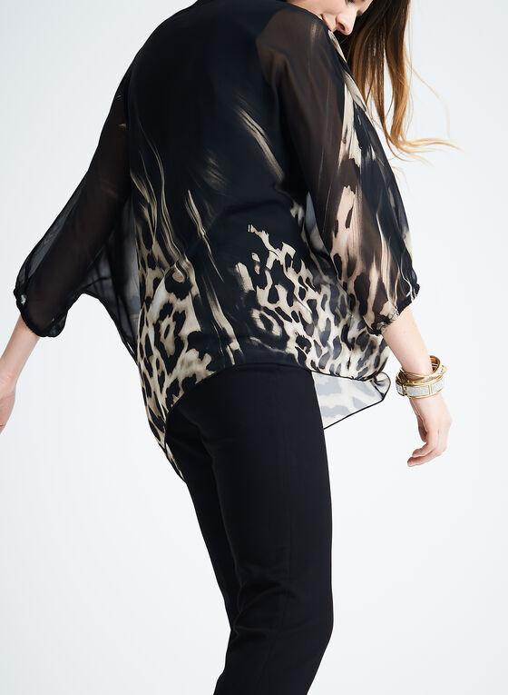 Sheer Animal Print Blouse, Black, hi-res