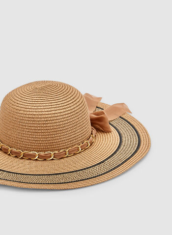 Wide Brim Straw Hat, Brown, hi-res