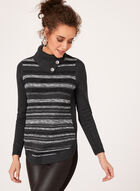 Striped Rib-Knit Sweater, Grey, hi-res