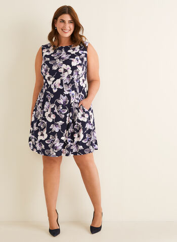 Sleeveless Floral Print Dress, Purple,  spring summer 2020, sleeveless, floral print, pockets, jersey fabric, fit & flare