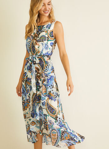 Floral Print Belted Chiffon Dress, White,  day dress, sleeveless, chiffon, floral
