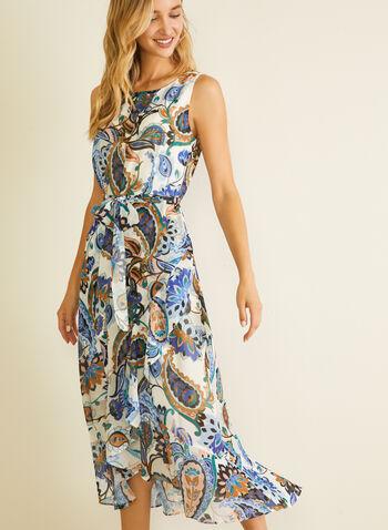 Robe en mousseline fleurie à ceinture, Blanc,  robe de jour, sans manches, mousseline, fleurs, printemps été 2020