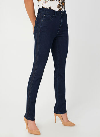 Simon Chang - Signature Fit Straight Leg Jeans, Blue,  embroidery, straight leg, stretchy, 5 pockets, tummy control, fall 2019, winter 2019