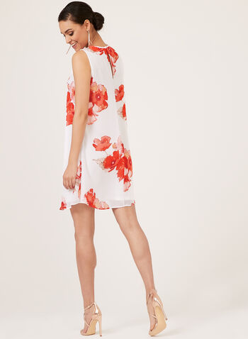 Jessica Howard - Floral Print Trapeze Dress, White, hi-res