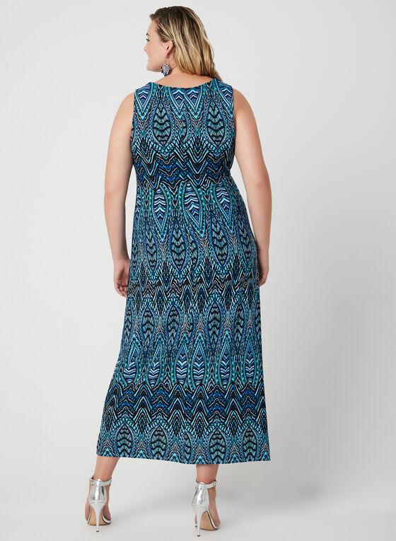 Robe maxi à motif mosaïque, Bleu