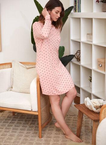 Polka Dot Print Nightgown , Pink,  fall winter 2021, bedtime, sleepwear, nightshirt, nightgown, pyjamas, pajamas, dotted, round neck, crew neck, chest pocket,