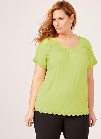 Gathered Neck T-Shirt , Green, hi-res