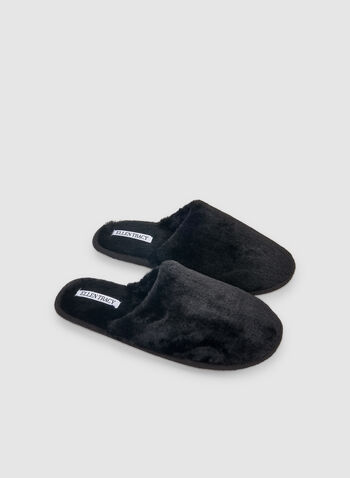 Ellen Tracy - Faux Fur Slippers, Black,  mules, slippers, comfortable, holiday, fall 2019, winter 2019