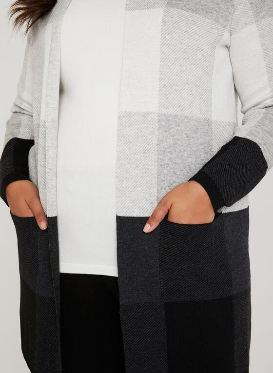 Long cardigan ouvert à carreaux, Noir, hi-res