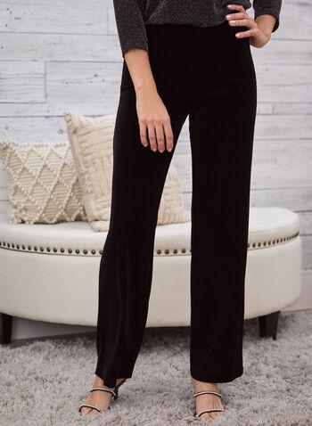 Modern Fit Velvet Pants, Black,  Canada, pants, velvet, wide leg, Modern Fit, pull on, elastic waist, fall 2019, winter 2019