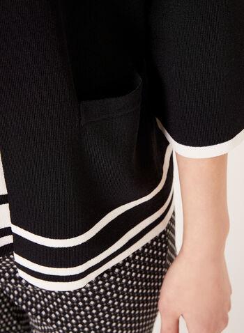 Cardigan ouvert à manches ¾ avec rayures à l'ourlet, Noir, hi-res