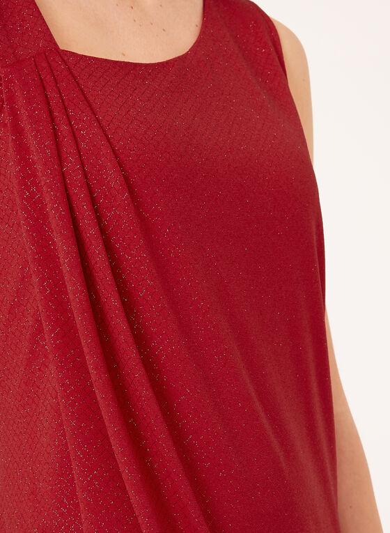 Haut asymétrique effet drapé et fibres métallisées, Rouge, hi-res