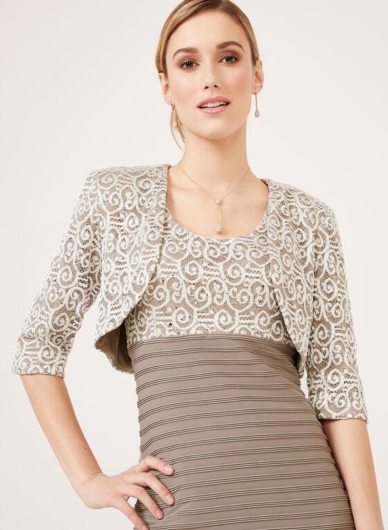 Robe au corsage en dentelle et jupe texturée avec boléro, Blanc, hi-res