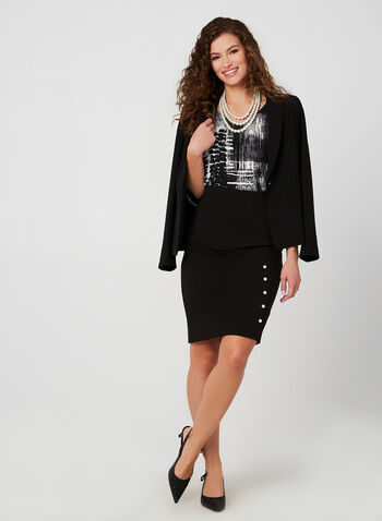 Pearl Trim Pencil Skirt , Black, hi-res,  pencil skirt, skirt, pearl, pull-on, fall 2019, winter 2019