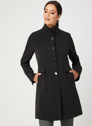 Button Front Transition Coat, Black, hi-res