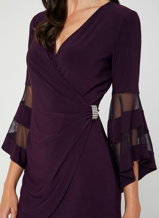 Bell Sleeve Jersey Dress, Purple, hi-res