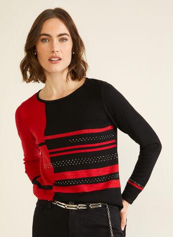 Pulls à blocs de couleurs et cristaux, Rouge,  automne hiver 2020, pull, chandail, tricot, manches longues, encolure ronde, blocs de couleurs, contrastant, cristaux