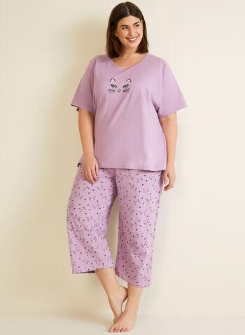Pyjama 2 pièces motif chat, Violet,  pyjama, haut, capri, chat, automne hiver 2020