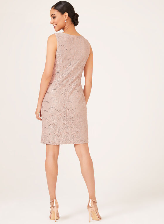 Two Piece Sequin Lace Dress, Pink, hi-res