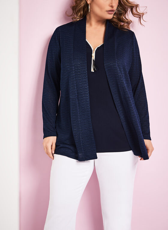Textured Knit Cascade Cardigan, Blue, hi-res