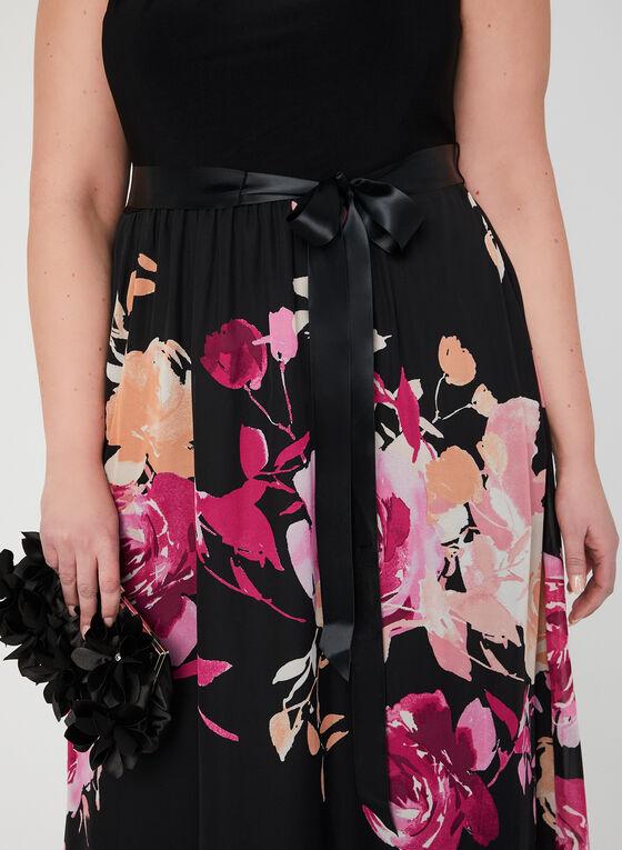 Robe maxi avec jupe fleurie, Noir