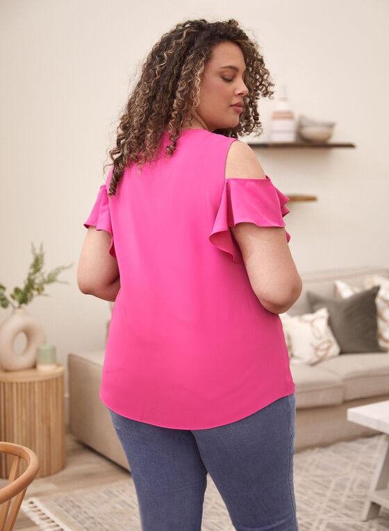 Ruffle Sleeve Cold Shoulder Blouse, Purple
