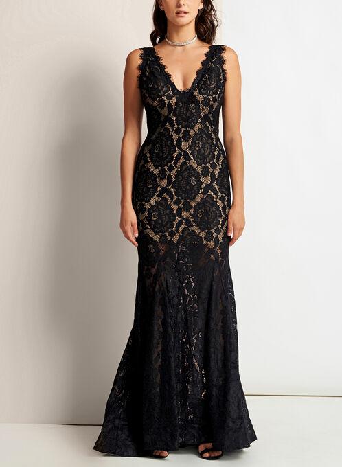Scallop Lace Mermaid Dress, Black, hi-res
