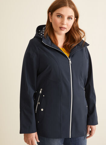 Removable Hood Raincoat, Blue,  coat, raincoat, hood, zipper, pockets, spring summer 2020