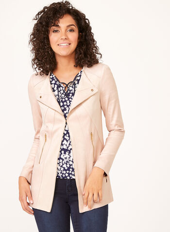 Vex - Faux Leather Zipper Trim Jacket, Pink, hi-res