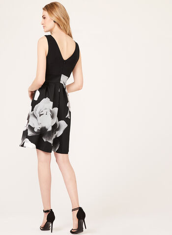 Robe ajustée et évasée avec imprimé fleuri, Noir, hi-res
