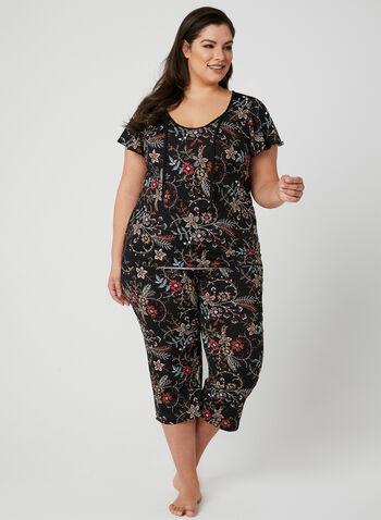 Pyjama 2 pièces motif floral, Noir, hi-res