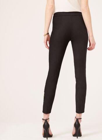 Pantalon brodé coupe moderne à jambe droite, Noir, hi-res