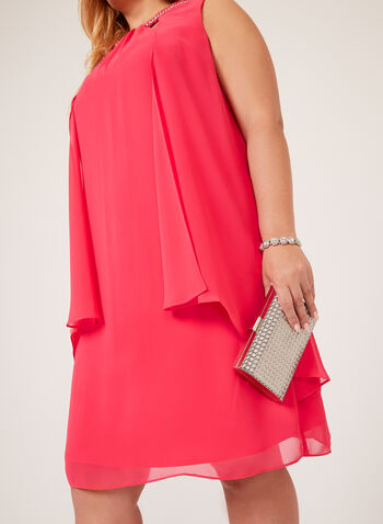 Metal Chain Detail Capelet Dress, Pink, hi-res