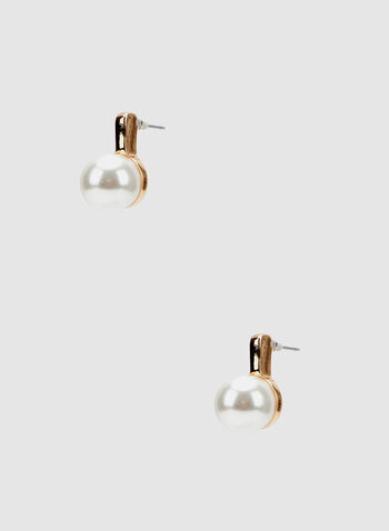 Pearl Stud Earrings, Off White, hi-res